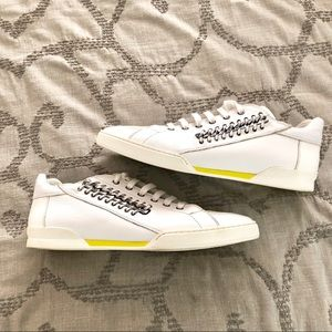 Versace Leather and Suede Chain Laced Sneakers